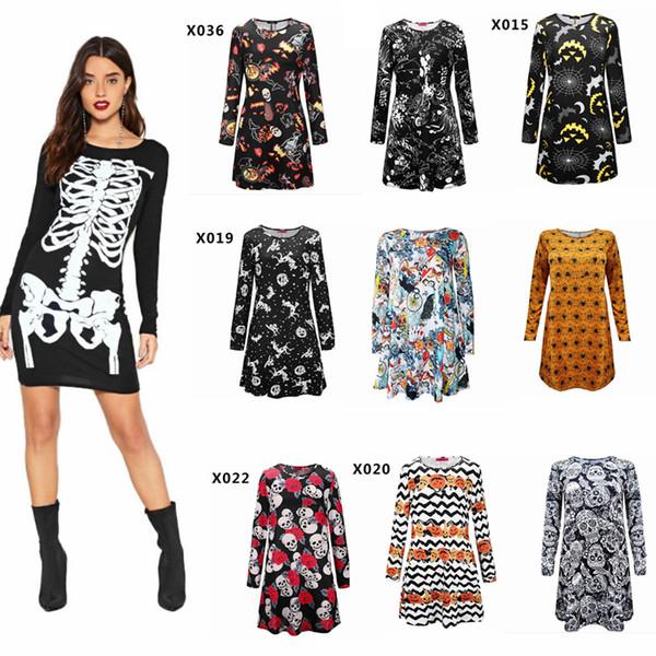 Compre Calavera De Halloween Calavera Impresa Vestido Calavera Calavera Web Impreso Halloween Mini Vestido De Oscilación Superior De Maternidad