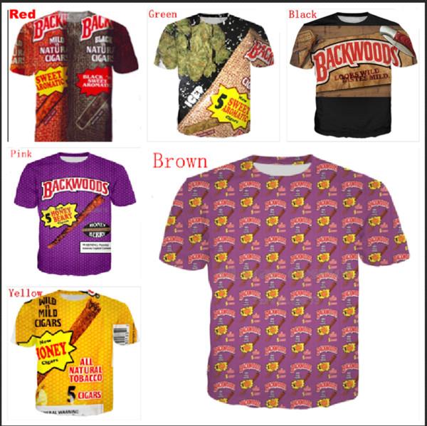 Wholesale - New Fashion Couple Men Women Unisex Backwoods Funny 3D Print No Cap Casual Fashion Shirt T-Shirts SZLM08