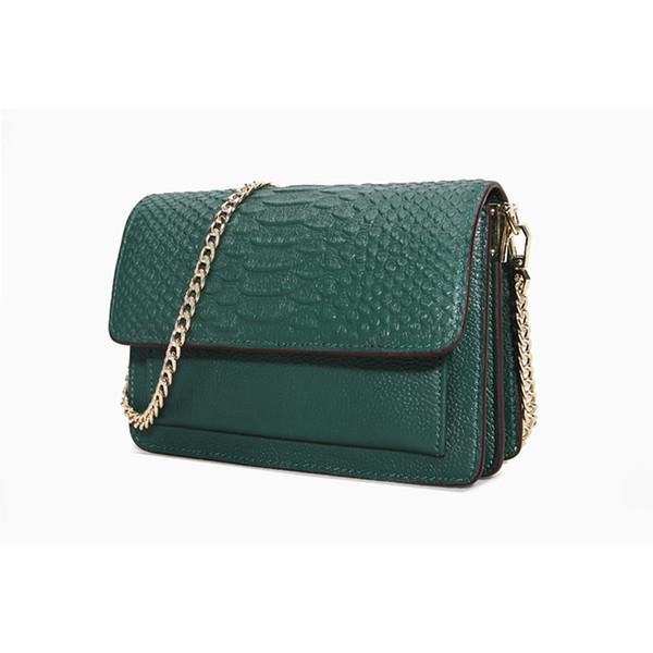 20*14*7cm, 100% Natural Cowhide,Snake Skin Pattern,Chains +Flap, Women Genuine Leather Shoulder Bags,Cross body Messenger, JW606