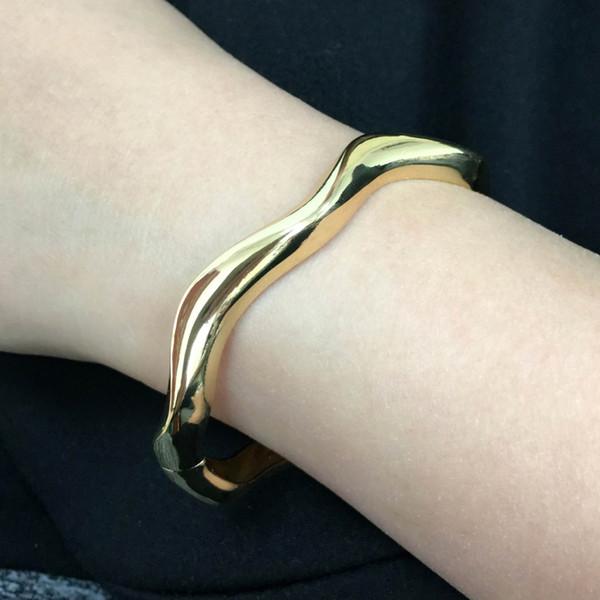 cuff bangle MANILAI Simple Wavy Alloy Cuff Bangles Bracelets Women Statement Jewelry Fashion Bracelet Cheap Wholesale Gift