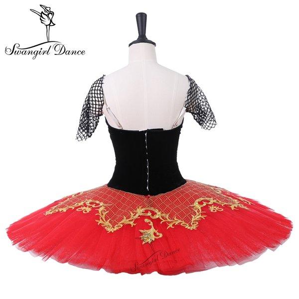 Don Kişot Performans Stgae Tutu Kızlar Siyah Kırmızı Profesyonel Klasik Bale Tutu Elbise Balerin Paltter Tutuş BT9214