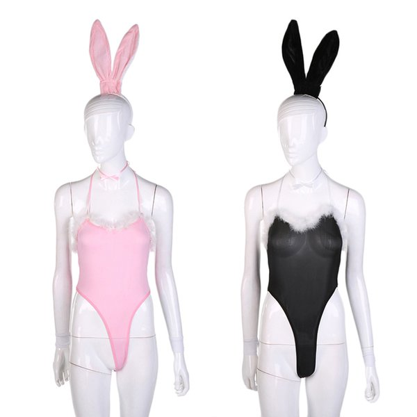 Sexy Femmes Lapin Lapin Mignon Fluff Halloween Party Cosplay Costume Sexy lingerie Outfancy Fantaisie Body Teddy Babydoll Érotique