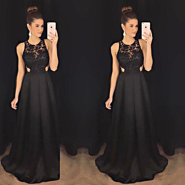 Vintage Black Halter Evening Dress A-line Cut-out Appliques Party Women Prom Evening Gown 2018 Hot Sale Formal