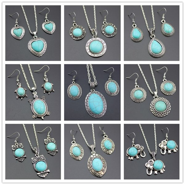 best selling 10pcs lot Newest Jewelry Set Temperament Flower Shaped Turquoise Earrings Necklace Set Two Piece Accessories gifts
