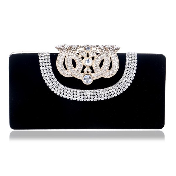 Foreign trade new suede handbag extravagant luxury banquet socialite dinner evening bags delicate crown diamond package