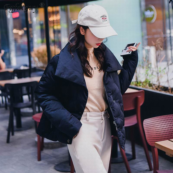 Winter Fashion Women Jackets Short Design Cute Cotton Padded Black Coats Casual Warm Stand Loose Padded Parkas Casaco Feminino