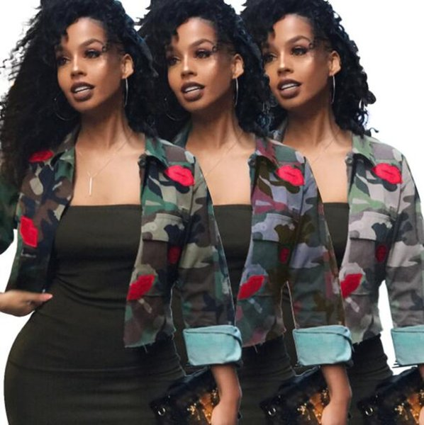 Women camouflage Jacket Red Mouth Camo Short Coat Outerwear Tops 2018 fashion women clothes streetwear jacket