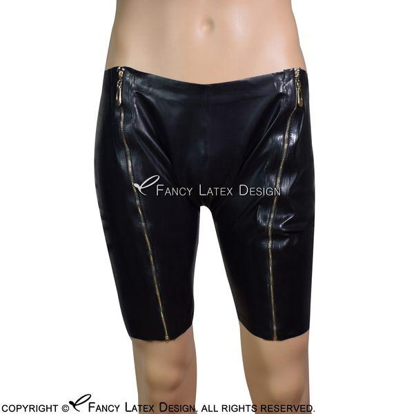 Preto Sexy Latex Boxer curto Com Dois Lado Zipper Calças De Borracha Calcinhas Bottoms Shorts Briefs DK-0097