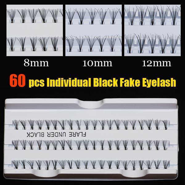 New 60 Individual/sent Black Fake Eyelash Cluster Eye Lashes Extension Tray Make Individual Lashes Wholesale - Free Shipping