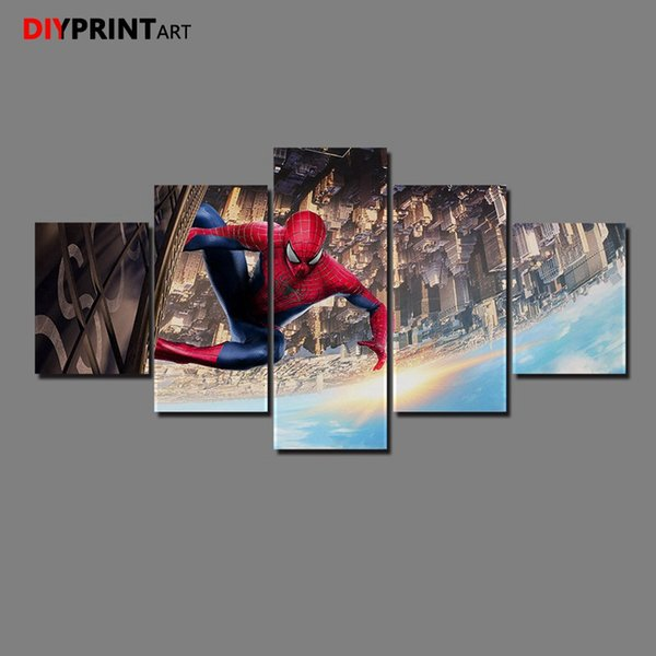 The Amazing Spiders Man 5 Panels Canvas Art Painting Wall Pictures for Bedroom Livingroom A1370