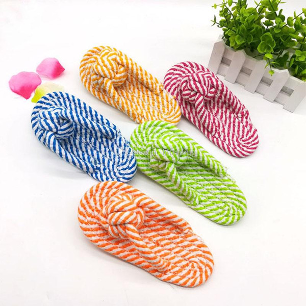 Dog Slippers 8*18cm Funny Pet Chew Rope Cute Knot Stripe Durable Toys Fashion mixed Color C4909