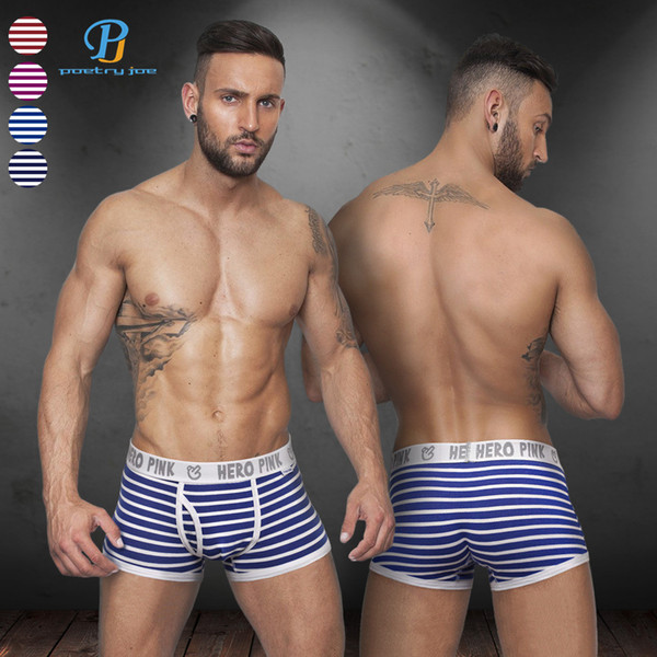 Pink Heroes Hot Men Underwear Boxers 5 Color Striped Cotton Men Boxer Underwear Lingerie Sexy Gay Shorts Boxer Cheap Panties