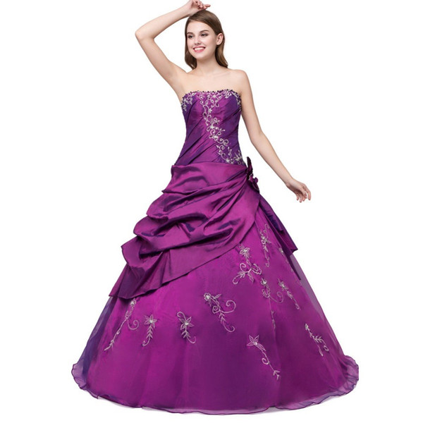 Cheap Quinceanera Dresses Purple / Royal Blue 2018 Embroidery Long Sweet 16 Masquerade Debutante Prom Ball Gowns