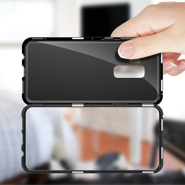 Estuche magnético incorporado para Samsung Galaxy S9 Plus S8 S7 Note 8 Cubierta trasera de vidrio templado Magnetic Aluminum Metal Bumper Ultra-slim