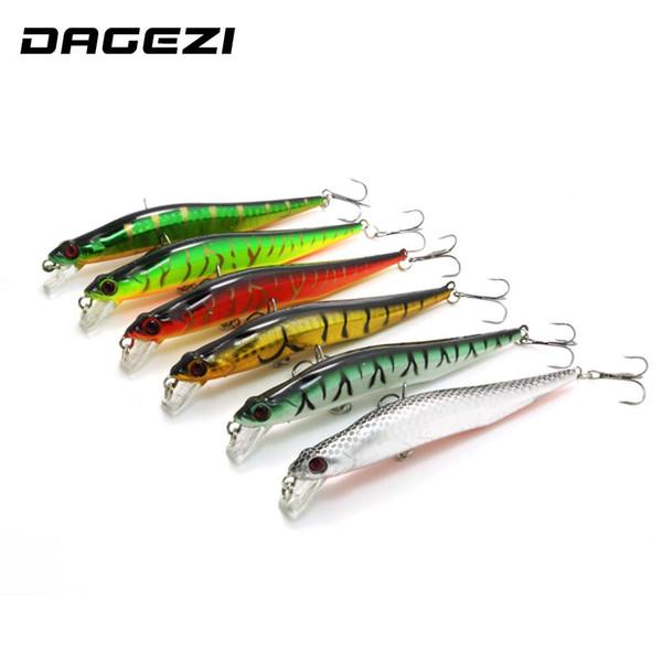 DAGEZI 6pcs/lot 14CM/11G Minnow Fishing Lure Laser Paint Lures Swimbait Wobbler Pesca Artificial Hard Bait Fishing Tackle
