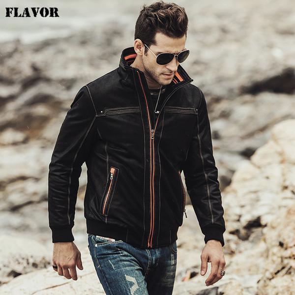 FLAVOR 2017 YENI erkek Gerçek deri ceket Dolgu pamuk sıcak Sonbahar Kış erkek Hakiki Deri Ceket