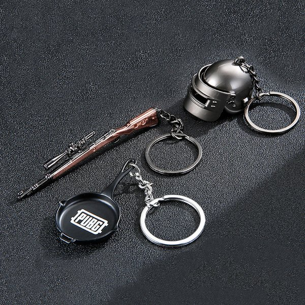 3PCS/Set Game PUBG Frying Helmet 98K Model Playerunknown's Battlegrounds Cosplay Props Key Chain