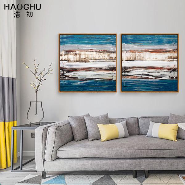 HAOCHU soyut hayal renk mozaik tuval boyama oturma odası için posteri sanat yağlıboya yatak odası baskı resim çerçevesiz