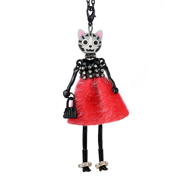 New Dress Flower Doll Necklace Lovely Cat head Long Chain Statement Pendant Rhinestone In Leg Doll Necklaces Women Girl Jewelry