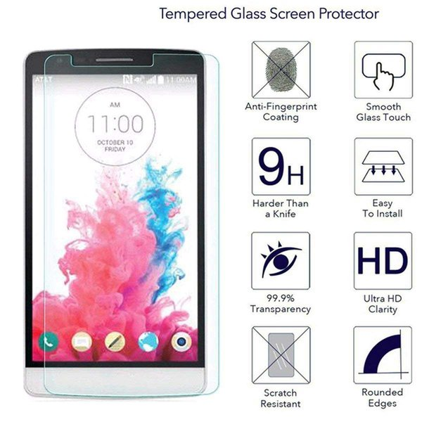 For LG G3 Stylus/D690 Screen Protectors Film for XiaoMi Mix 2S Tempered Glass 2.5D Hardness 9H Anti-Bubble Anti-Scratch Paper Package