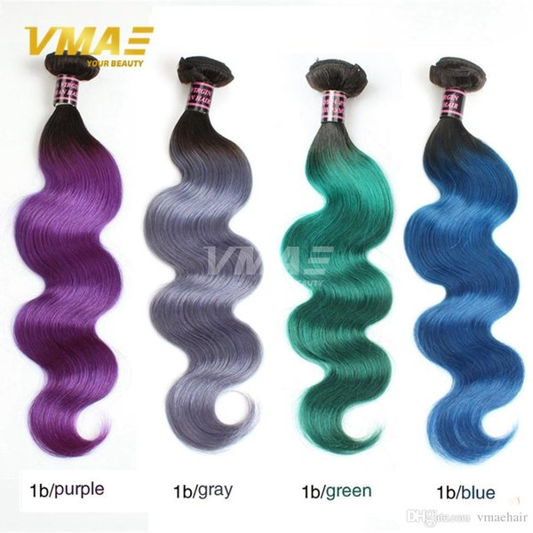 Brazilian Hair Body Wave 10 Bundles Ombre 2 Tone Brazilian ombre virgin Hair Weave Bundles T1B gray blue purple green Human Hair Weave