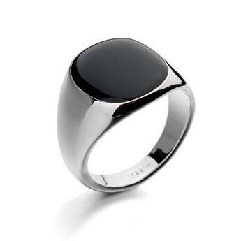 Italian Brand Jewelry 18K Real Gold Plated Classic Men Black Rings Free Shipping