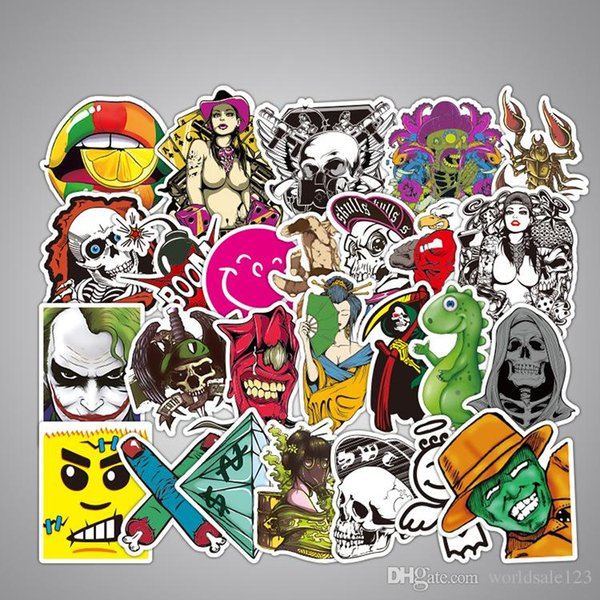 100 PCS Graffiti Sticker Mix Punk Anime JDM Cool Funny Stickers for Luggage Motorcycle Bicycle Helmet Laptop Skateboard Stickers