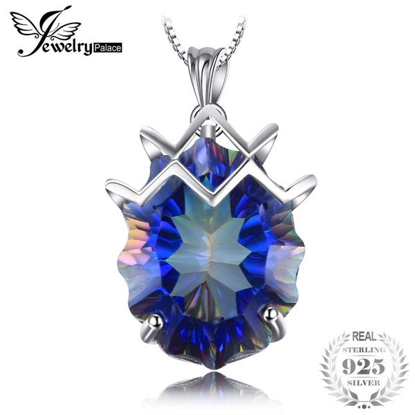 Huge 21ct Genuine Rainbow Fire Mystic Topazs Pendant & Necklace Solid 925 Sterling Trendy Jewelry Best Gift For Women 45cm Chain