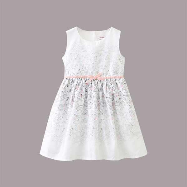 Girl Clothing New Summer Girl Butterfly Printing Dress Girl Summer Floral Princess Dresses Sleeve less Clothing 6 P/L