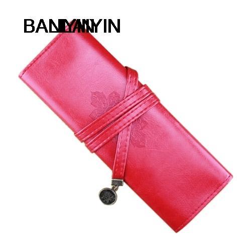 Agradável Couro Do Rolo Do Vintage Compõem Cosméticos Pen Lápis Caso Pouch Bag Bolsa Caixa Vermelho