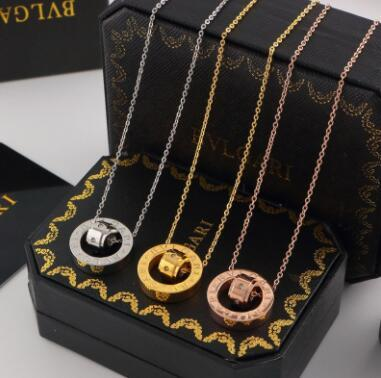 Wholesale round round rose gold necklace with ring double ring set with diamond crystal collarbone short necklace
