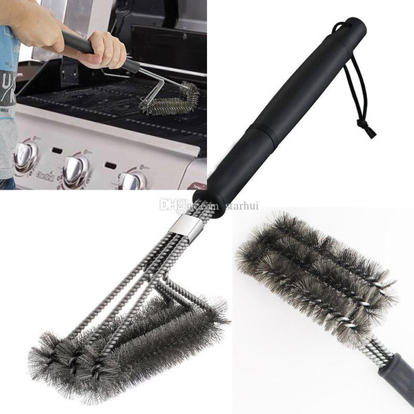 BBQ Grill Brush Stainless Steel Barbecue Long Handle Cleaner Durable Cooking Brushes Cleaning Tool Kitchen Accessories WX9-599