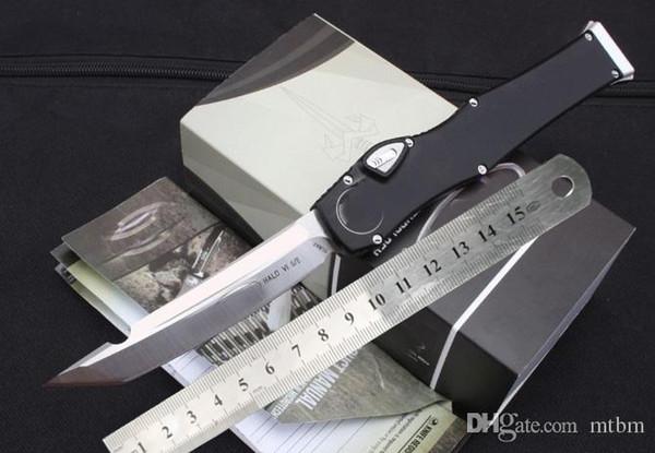 nuovo Bottone con chiusura di sicurezza MT 150-10 lama elmax bianca tanto drop point Manico in alluminio K fodero CNC 1pz