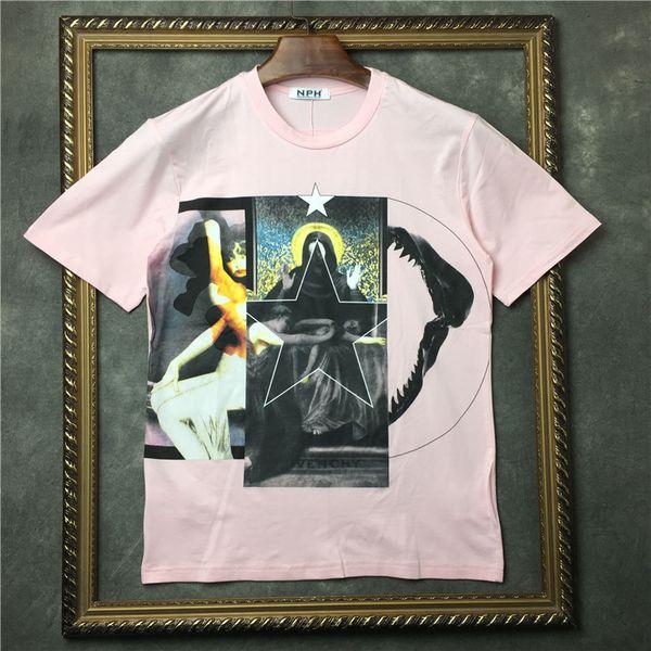 18ss новая мода лето футболка мужчины о-образным вырезом пентаграмма с принтом Virgin футболка футболка мужчины женщины дизайнер футболка свободного покроя хлопок футболка