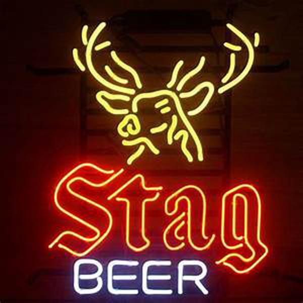 "Stag Beer Deer Neon Sign Handmade Custom Real Glass Tube Beer Bar KTV Club Disco Store Pub Neon Signs Free Design 15""X19"""