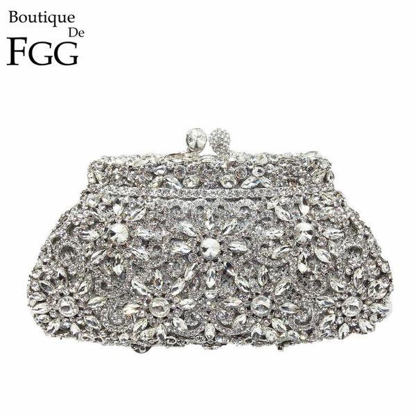 Gift Box Metal Minaudiere Clutch Silver Evening Crystal Handbags Women Socialite Party Prom Bag Bridal Clutches Wedding Purse D18110106