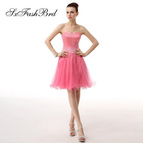 Fashion Elegant Sweetheart With Beading Mini Short A Line Red Tulle Party Formal Evening Dresses Women Prom Dress