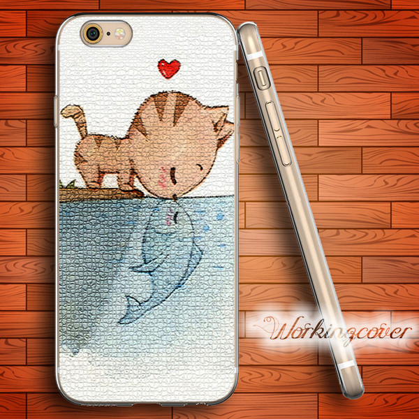 Coque Cat Kiss Fish Soft Clear TPU Case for iPhone X 8 6 6S 7 Plus 5S SE 5 5C 4S 4 Case for iPod Touch 6 5 Cover.
