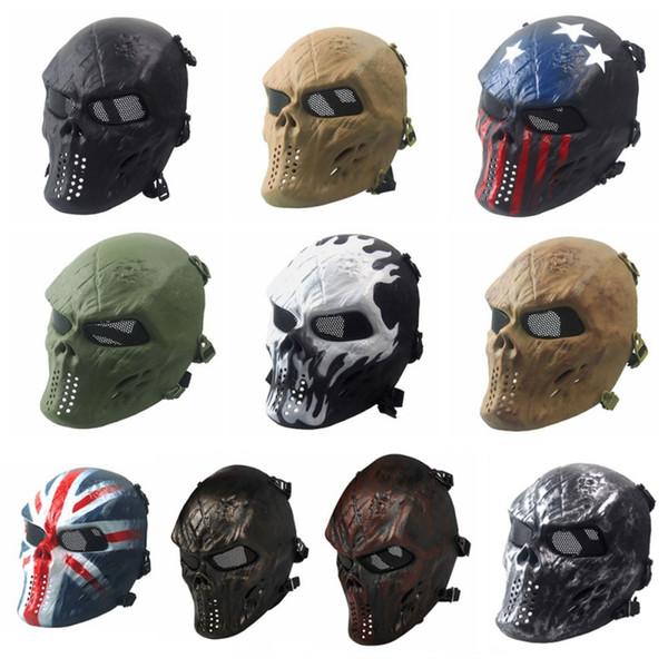 Halloween Skull Skeleton Full Face Mask Party Army Games Eye Shield Mask Adjustable Ribbon Halloween