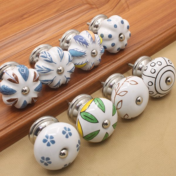 8 Styles 4*3.6cm Art Pattern Antique Shell Knob Home Decor Hand Painted Ceramic Door Pull Drawer Handle Furniture Craft Kitchen Accessories