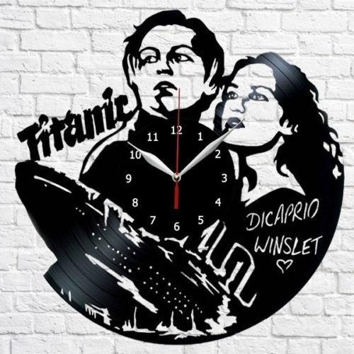 Titanic Dicaprio Vinyl Record Wall Clock Fan Art Home Decor Handmade Art Personality Gift (Size: 12 inches, Color: Black)