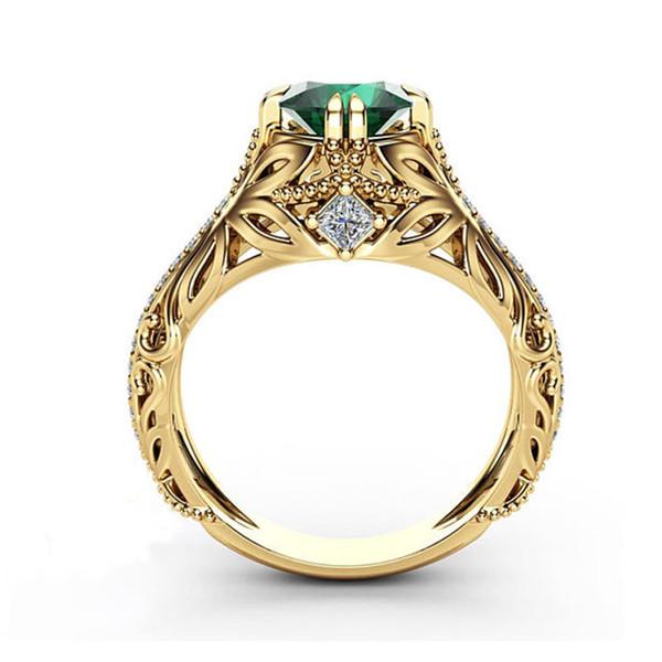 Estilo europeu e americano anel de diamante de zircão Esmeralda, anel de noivado de luxo de moda feminina