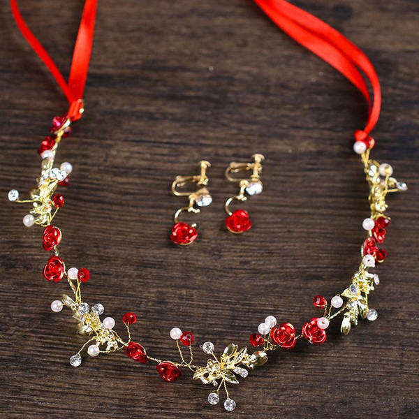 Bridal Accessories Red Flower Hair Earring Set Bridal Dress Accessories hairband Earring Set Jewelry Factory Outlet