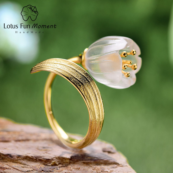 Lotus Fun Moment Real 925 Plata Esterlina Piedra Natural Piedra Joyería de Moda Oro Lily of the Valley Flor Anillos Para Mujeres