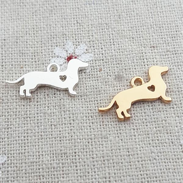 Yüksek Cilalı 20 Adet / grup 10mm * 20mm Altın Renk Charm Narin Dachshund Pet Köpek Takılar Takı Yapımı Için Takı yapımı toptan