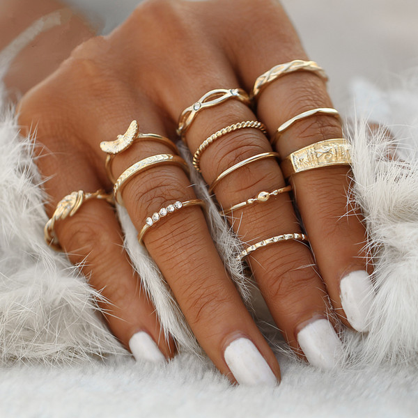 12 pcs/set Charm Gold Color Midi Finger Ring Set for Women Vintage Boho Knuckle Party Rings Punk Jewelry Gift for Girl