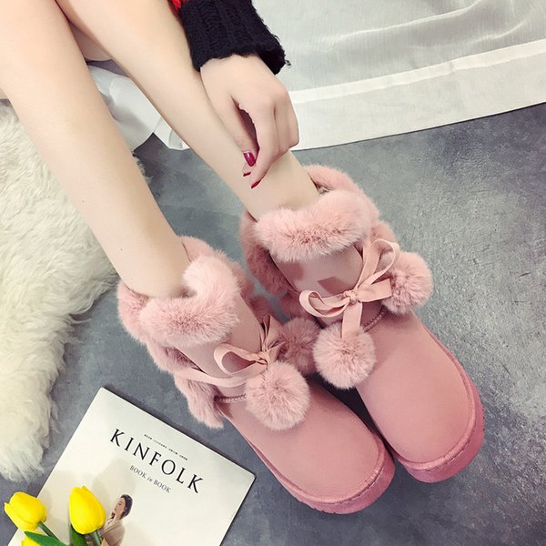 2019 Warm Fur Women Snow Boots Cute Suede Winter Shoes Fur Ball Mid-Calf Boots Female Fashion Boots Non-Slip Snow Casual Shoe 35-41
