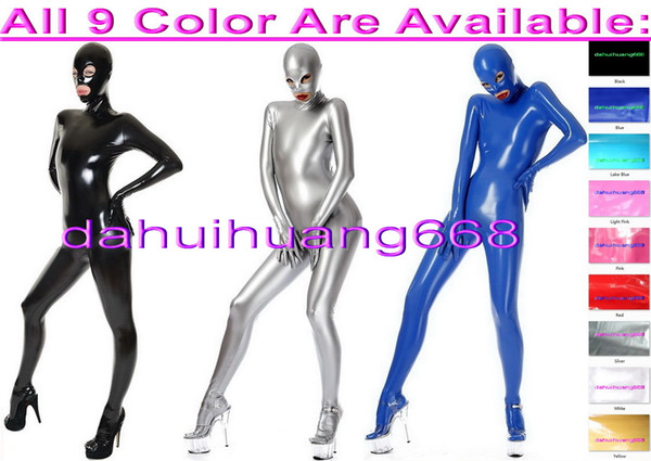Unisex Full Body Suit Costumes Outfit New 9 Color Shiny PVC Suit Catsuit Costumes Unisex Halloween Party Fancy Dress Cosplay Costumes DH235