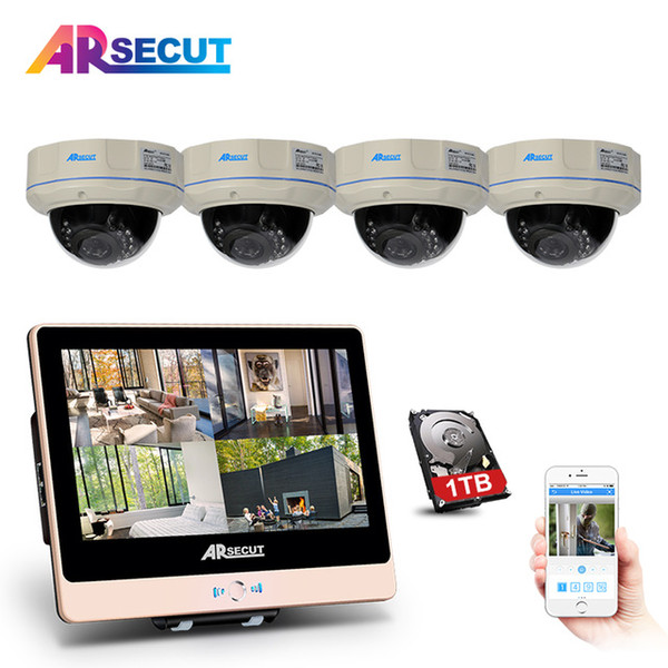 """Newest!2.0Megapixels HD Outdoor IR Night-Vison Security Fixed Dome POE Camera Kit&4CH 1080P POE NVR 12""""Inch LCD CCTV System"""