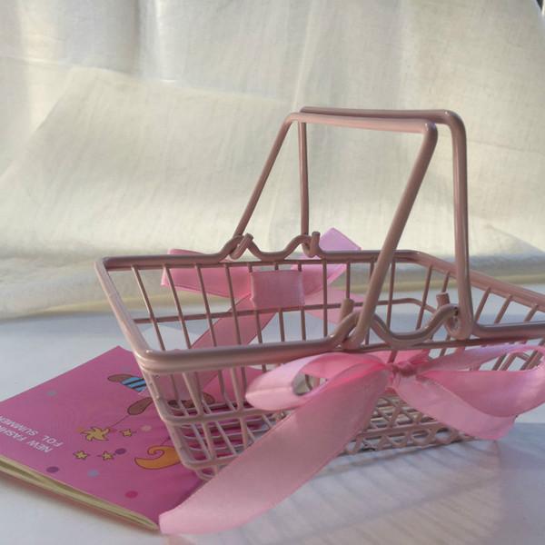 New Arrival Mini Cute Supermarket Shopping Cart Kids Toy Desktop Cosmetic Sundries Organizer Pink Iron Storage Basket